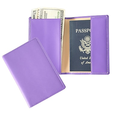 Royce Leather – Porte-passeport, violet, estampage argenté, 3 initiales