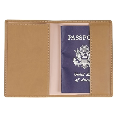 Royce Leather – Pochette pour passeport, havane (200-TAN-11), estampage doré, nom complet