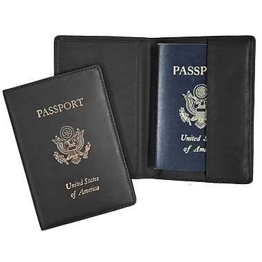Royce Leather RFID Blocking Foil Stamped Passport Jacket, Black, Gold Foil Stamping, Full Name
