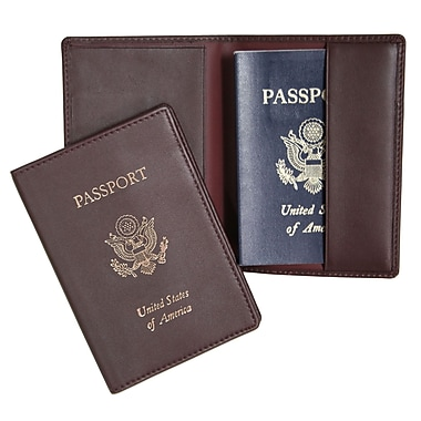 Royce Leather Foil Stamped Passport Jacket, Burgundy, Gold Foil Stamping, 3 Initials