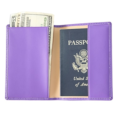 Royce Leather Foil Stamped Passport Jacket, Purple, Silver Foil Stamping, Full Name