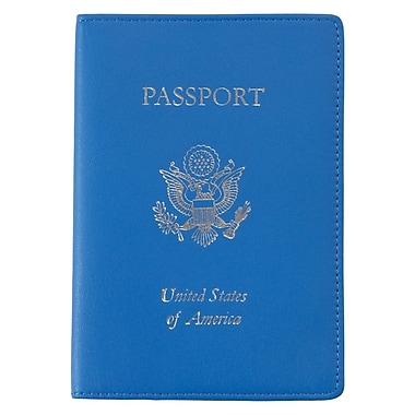 Royce Leather Foil Stamped Passport Jacket, Royce Blue, Debossing, 3 Initials