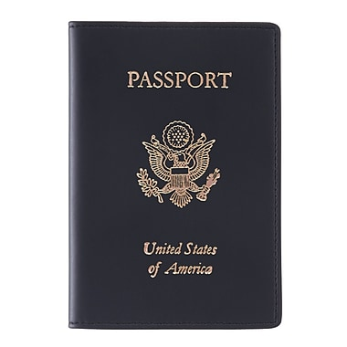 Royce Leather Foil Stamped Passport Jacket, Black, Silver Foil Stamping, Full Name