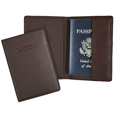 Royce Leather – Porte-passeport, chocolat (203-COCO-5), estampage argenté, 3 initiales