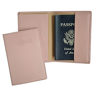 Royce Leather – Étui à passeport, rose œillet (203-CP-5), estampage, 3 initiales