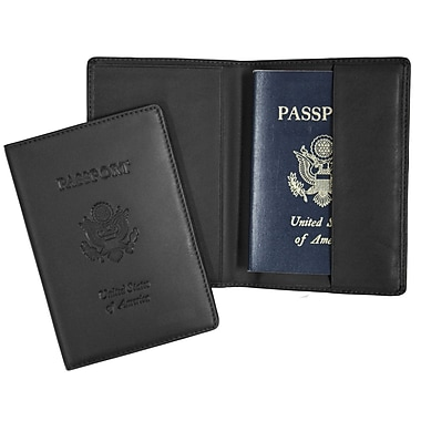 Royce Leather Debossed Full Grain Passport Jacket, Black, Silver Foil Stamping, 3 Initials
