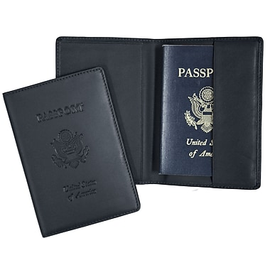 Royce Leather (RFID-204-BLE-5) RFID Blocking Passport Travel Document Organizer in Genuine Leather