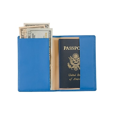 Royce Leather Debossed Passport Jacket, Royce Blue, Silver Foil Stamping, 3 Initials