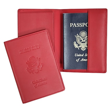 Royce Leather – Étui à passeport gravé, rouge, estampage argenté, nom complet