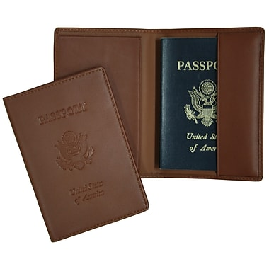 Royce Leather – Étui à passeport gravé, havane (204-TAN-5), estampage doré, nom complet