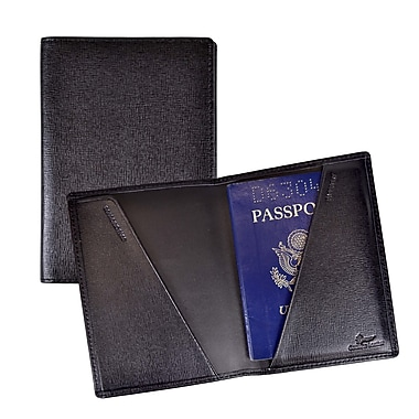 Royce Leather Saffiano Cowhide Passport Jacket, Black, Silver Foil Stamping, 3 Initials