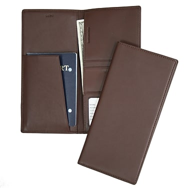 Royce Leather – Porte-passeport et porte-billet, chocolat, estampage, nom complet