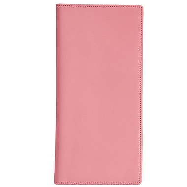 Royce Leather Passport Ticket Holder, Carnation Pink, Silver Foil Stamping, Full Name