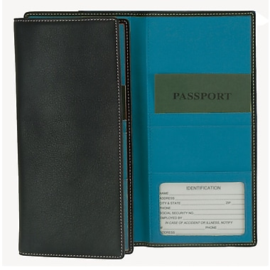 Royce Leather Passport Ticket Holder, Metro Collection, Royce Blue, Silver Foil Stamping, 3 Initials