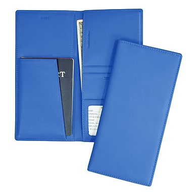 Royce Leather Full Grain Nappa Cowhide Passport Ticket Holder, Royce Blue, Silver Foil Stamping, 3 Initials