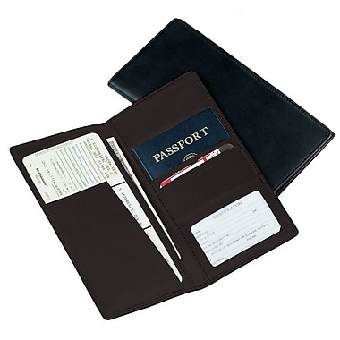 Royce Leather Passport Ticket Holder, Man-made Leather, Black, Silver Foil Stamping, Full Name
