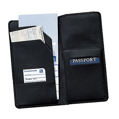 Royce Leather – Portefeuille pour passeport et carte d'embarquement, grand, noir, estampage, 3 initiales