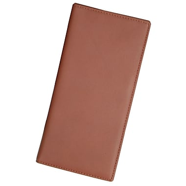 Royce Leather – Grand portefeuille pour passeport et carte d'embarquement, havane, estampage argenté, nom complet