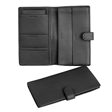 Royce Leather Passport and Travel Document Case, Black, Silver Foil Stamping, 3 Initials