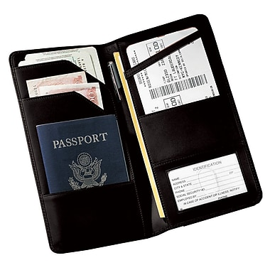 Royce Leather Executive Passport Travel Document Wallet in Genuine Leather, Silver Foil Stamping, Full Name