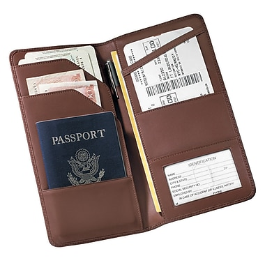 Royce Leather Checkpoint Passport Wallet, Coco, Debossing, 3 Initials