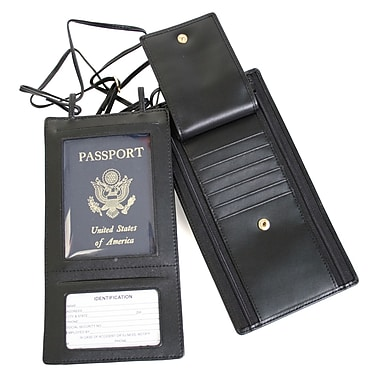 Royce Leather Hanging Security Passport Wallet, Black, Gold Foil Stamping, 3 Initials