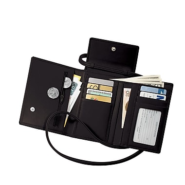 Royce Leather Passport Case with Removable Neck/Shoulder Strap, Black, Silver Foil Stamping, Full Name
