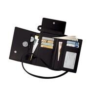 Royce Leather – Étui pour passeport avec bandoulière amovible, noir