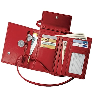 Royce Leather Passport Case with Removable Neck/Shoulder Strap, Red