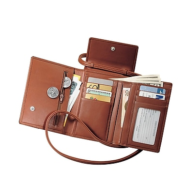 Royce Leather Passport Case with Removable Neck/Shoulder Strap, Tan, Debossing, 3 Initials