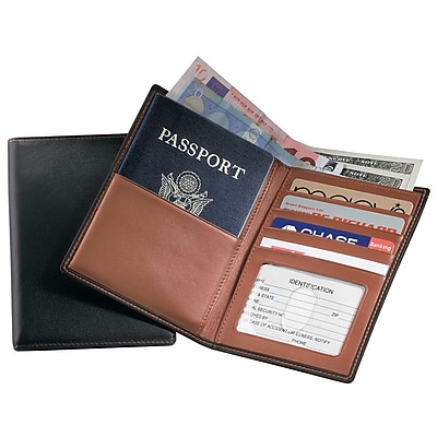 Royce Leather Currency Wallet, Black With Tan
