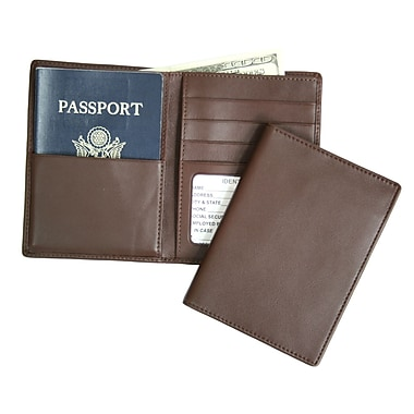 Royce Leather – Portefeuille pour passeport et billets, coco, estampage or, 3 initiales