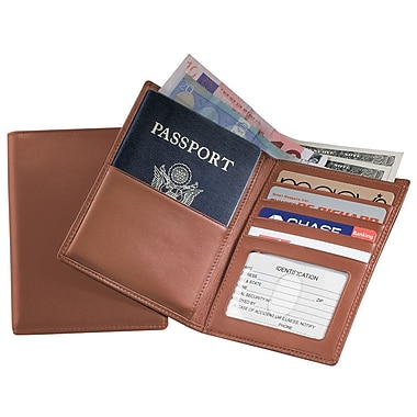 Royce Leather Passport Currency Wallet, Tan, Silver Foil Stamping, 3 Initials
