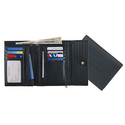 Royce Leather Ladies' Passport Wallet, Black