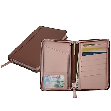 Royce Leather Two Toned Passport Travel Wallet, Carnation Pink, Debossing, Full Name