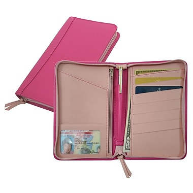 Royce Leather Two Toned Passport Travel Wallet, Wildberry/Carnation Pink, Silver Foil Stamping, 3 Initials