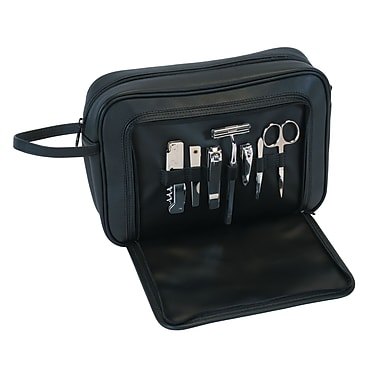Royce Leather Toiletry Grooming Kit with Stainless Steel Implements, Black, Silver Foil Stamping, Full Name