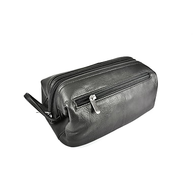 Royce Leather – Sac de toilette, noir, estampage doré, 3 initiales