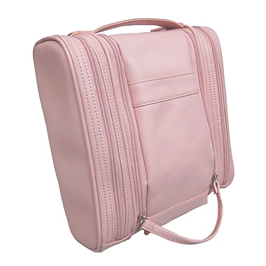 Royce Leather Deluxe Toiletry Bag, Carnation Pink, Silver Foil Stamping, 3 Initials