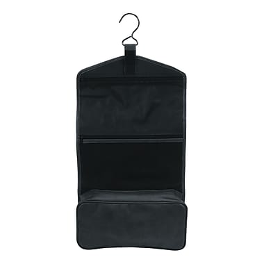 Royce Leather – Sac de toilette à accrocher, noir, estampage argenté, 3 initiales