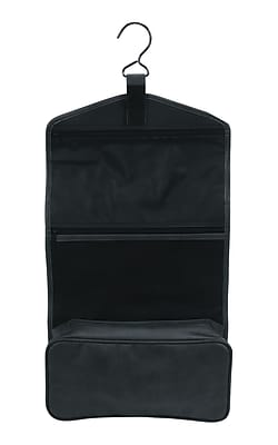 Royce Leather Man-Made Leather Hanging Toiletry Bag, Black