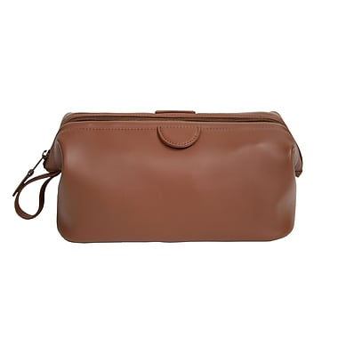 Royce Leather Executive Toiletry Bag, Tan, Silver Foil Stamping, 3 Initials