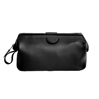 Royce Leather Classic Toiletry Bag, Black, Gold Foil Stamping, Full Name
