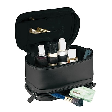 Royce Leather Cosmetic Travel Bag in Full Grain Milano Cowhide, Black, Silver Foil Stamping, Full Name