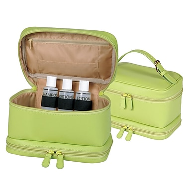 Royce Leather Cosmetic Travel Bag in Genuine Leather, Key Lime Green, Silver Foil Stamping, Full Name