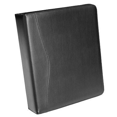Royce Leather – Porte-documents à anneaux, 2 po, noir, estampage argenté à chaud, 3 initiales