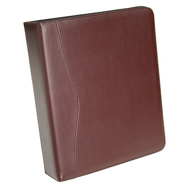 Royce Leather – Cartable à anneau en D, 2 po, bourgogne, estampage doré, nom complet
