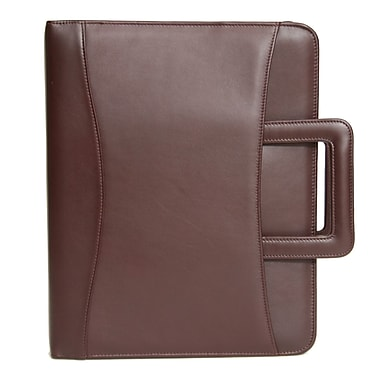 Royce Leather Zip Around Binder Padfolio, Burgundy (301-BURG-5), Silver Foil Stamping, 3 Initials