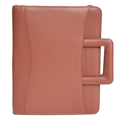 Royce Leather Zip Around Binder Padfolio, Tan (301-TAN-5), Debossing, 3 Initials