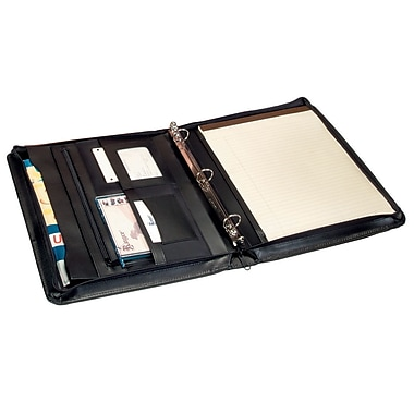 Royce Leather Zip Around Binder Padfolio, Black, Debossing, Full Name